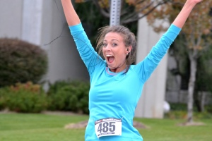 Happy female runner
